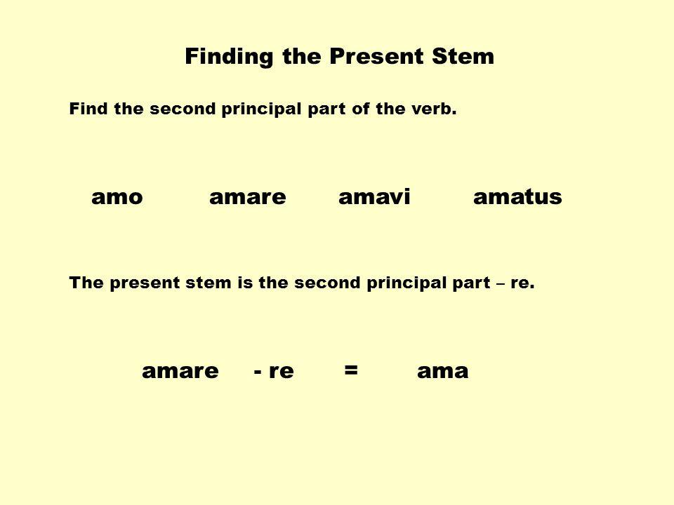Finding the Present Stem amareamaviamatusamo The present stem is the second principal part – re.
