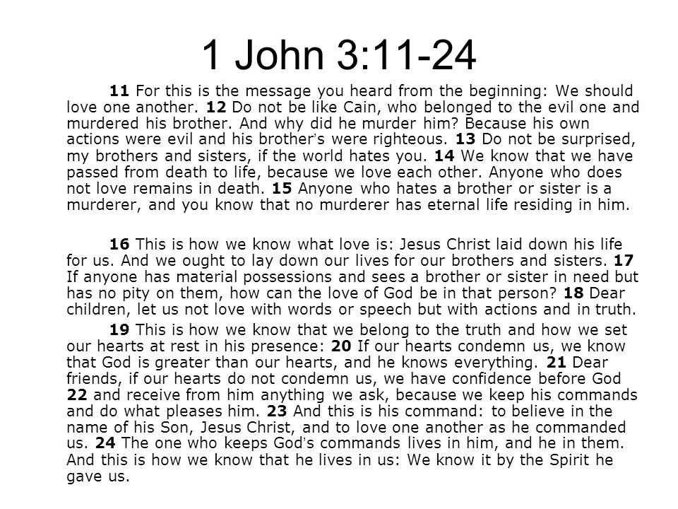 1 John 3:11-24 11 For this is the message you heard from the beginning: We should love one another.