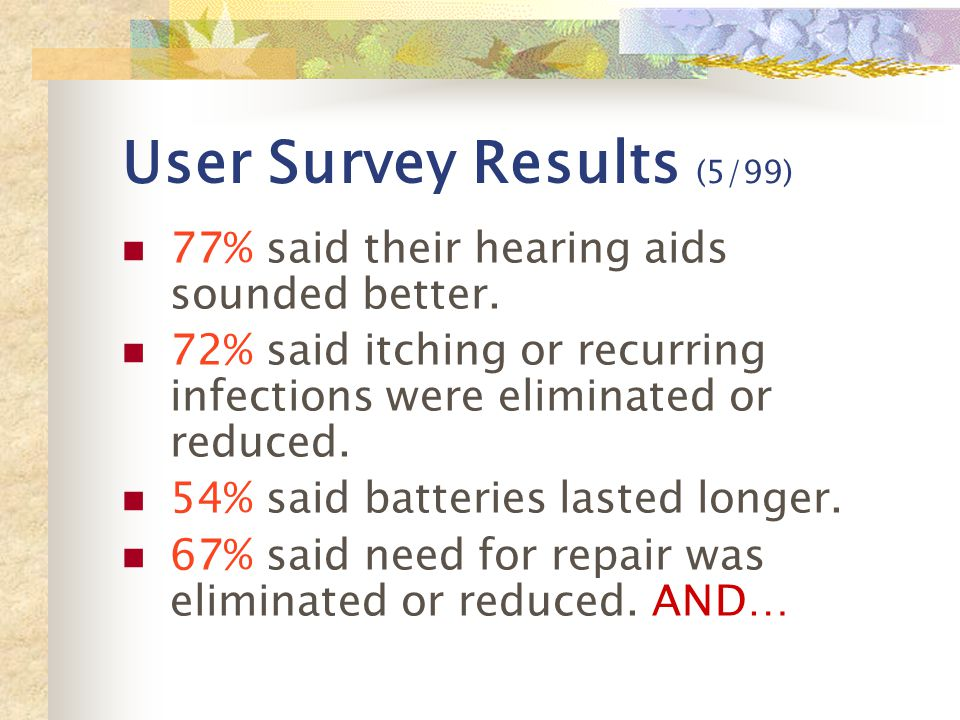 User Survey Results (5/99) 77% said their hearing aids sounded better.