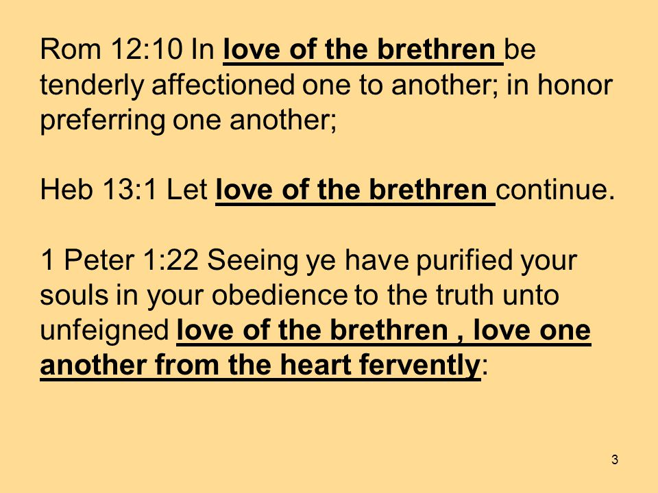 3 Rom 12:10 In love of the brethren be tenderly affectioned one to another; in honor preferring one another; Heb 13:1 Let love of the brethren continue.