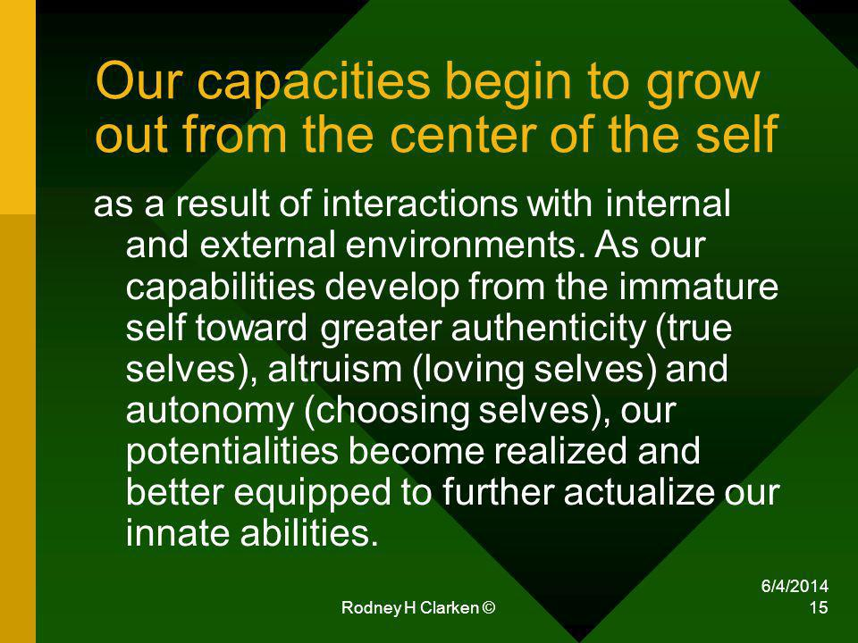 6/4/2014 Rodney H Clarken © 15 Our capacities begin to grow out from the center of the self as a result of interactions with internal and external env