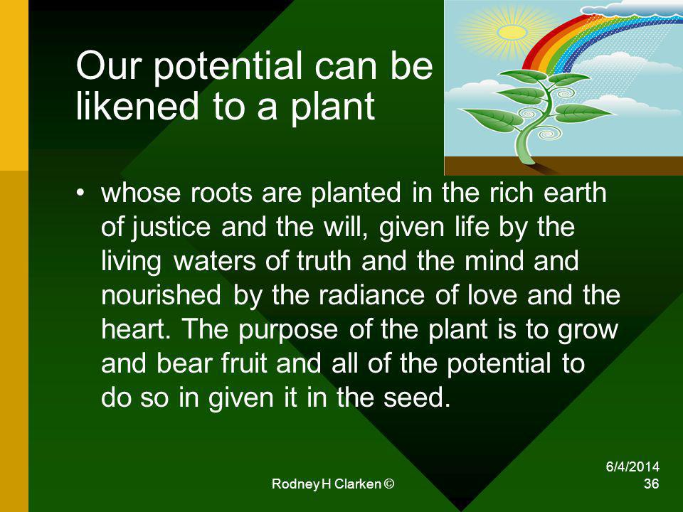 Our potential can be likened to a plant whose roots are planted in the rich earth of justice and the will, given life by the living waters of truth an