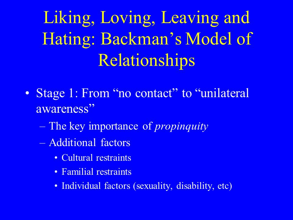 Backmans 4 Stages (cont.) Stage 2: Sampling and estimation –Begins with first impressions –Then comes identity bargaining (impression management) –The comes the compromise process Prospectives are usually similar in race, age, class, etc.