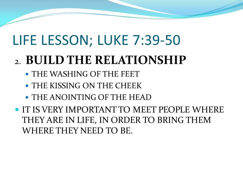 LIFE LESSON; LUKE 7:39-50 2.