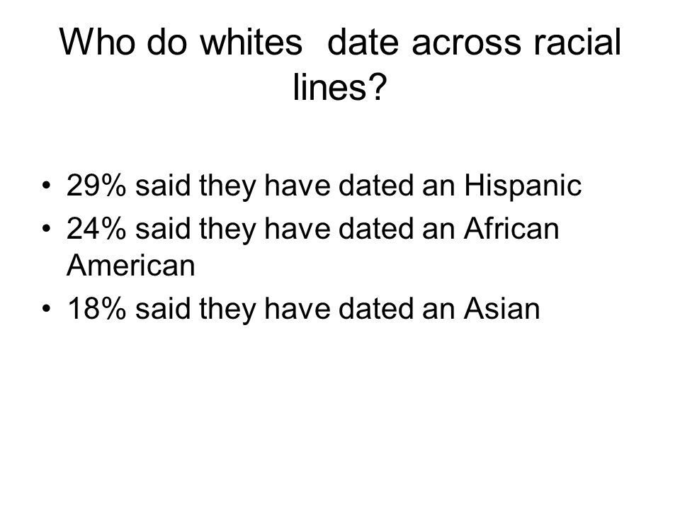 Who do whites date across racial lines.