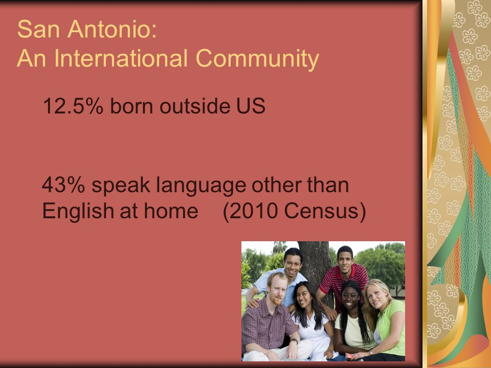 United States: An International Community 12.7% born outside US 20.1% speak language other than English at home (2010 Census) A great opportunity to create new library users!