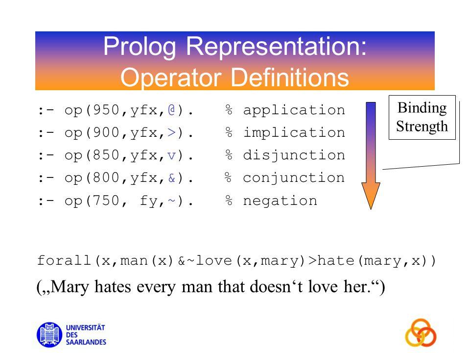 Prolog Representation: Operator Definitions :- op(950,yfx,@).% application :- op(900,yfx,>).% implication :- op(850,yfx,v).