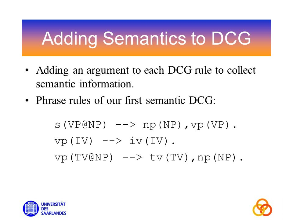 Adding Semantics to DCG Adding an argument to each DCG rule to collect semantic information.