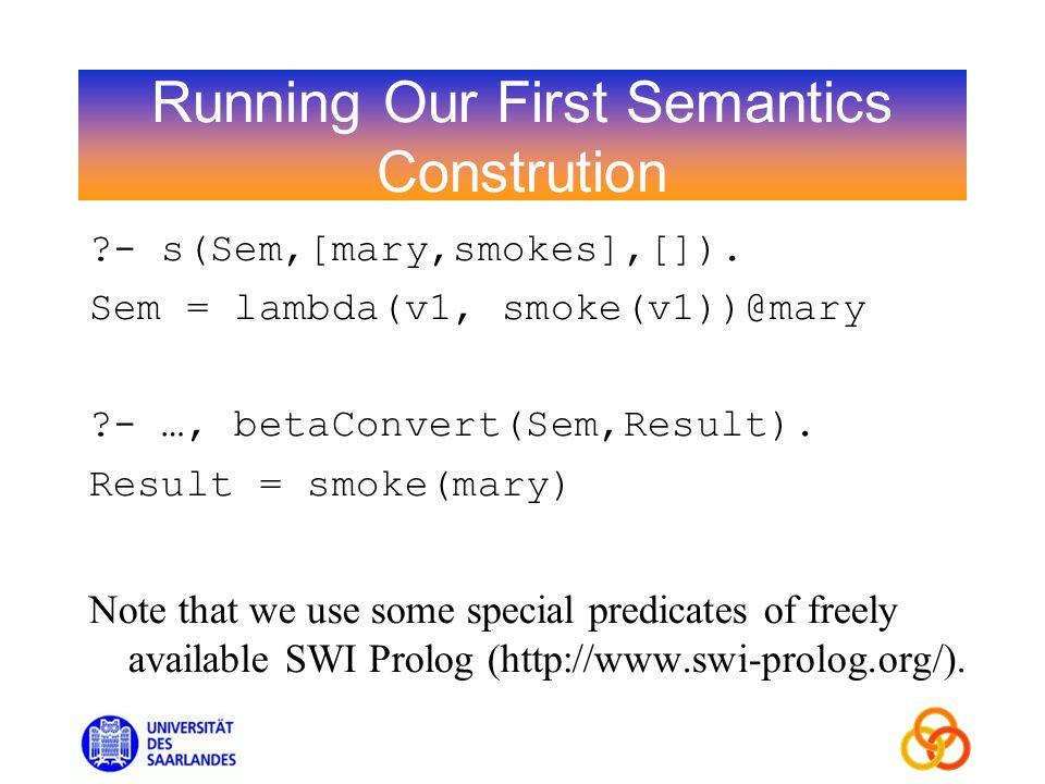 Running Our First Semantics Constrution ?- s(Sem,[mary,smokes],[]).