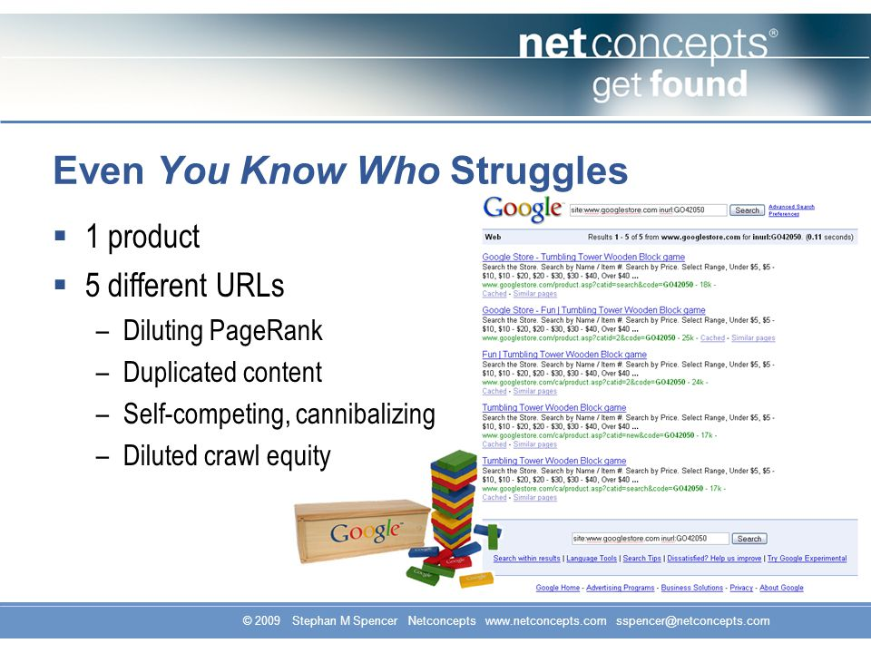 © 2009 Stephan M Spencer Netconcepts www.netconcepts.com sspencer@netconcepts.com 1 product 5 different URLs –Diluting PageRank –Duplicated content –Self-competing, cannibalizing –Diluted crawl equity Even You Know Who Struggles