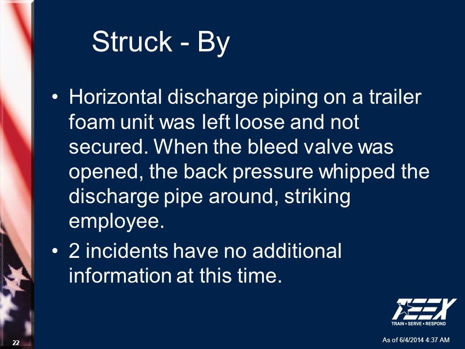As of 6/4/2014 4:37 AM 22 Struck - By Horizontal discharge piping on a trailer foam unit was left loose and not secured.