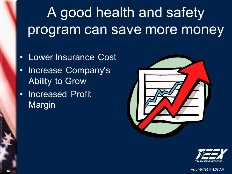 As of 6/4/2014 4:37 AM 34 A good health and safety program can save more money Lower Insurance Cost Increase Companys Ability to Grow Increased Profit Margin