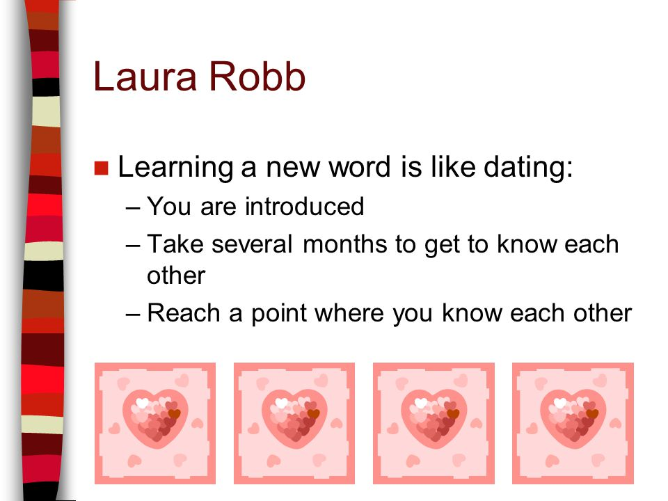 Laura Robb Learning a new word is like dating: –You are introduced –Take several months to get to know each other –Reach a point where you know each o
