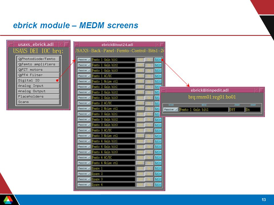 13 ebrick module – MEDM screens