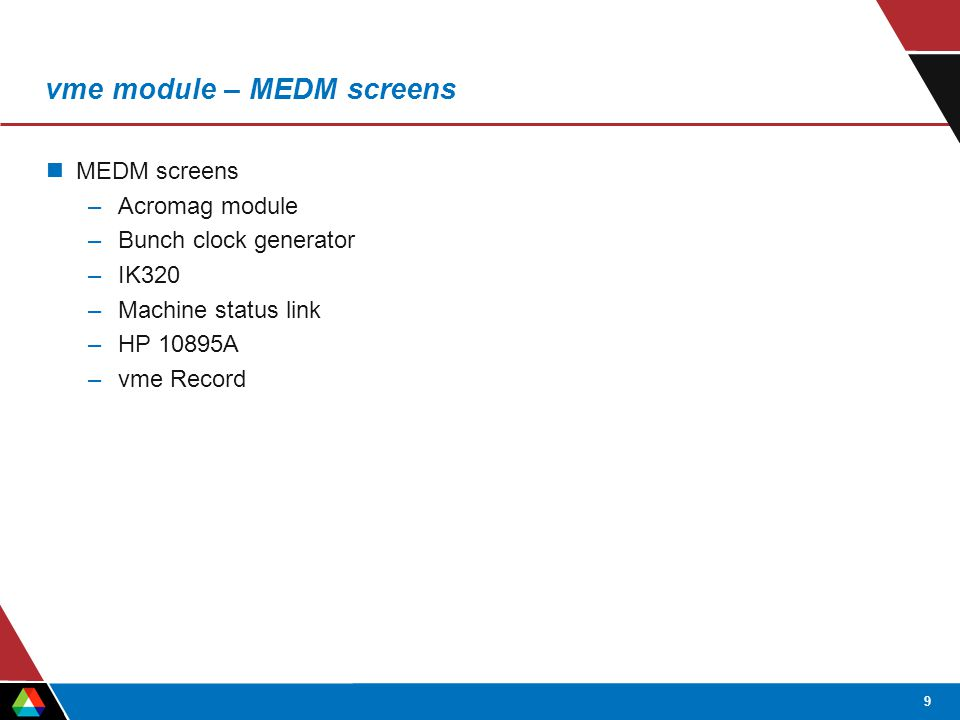 9 vme module – MEDM screens MEDM screens –Acromag module –Bunch clock generator –IK320 –Machine status link –HP 10895A –vme Record