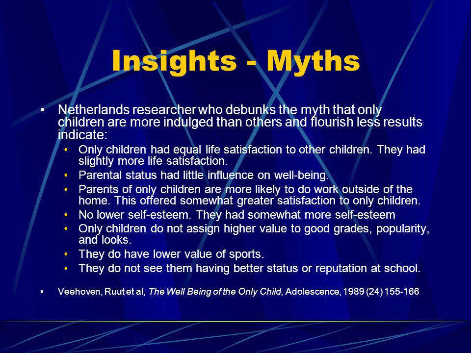Insights - Myths Netherlands researcher who debunks the myth that only children are more indulged than others and flourish less results indicate: Only