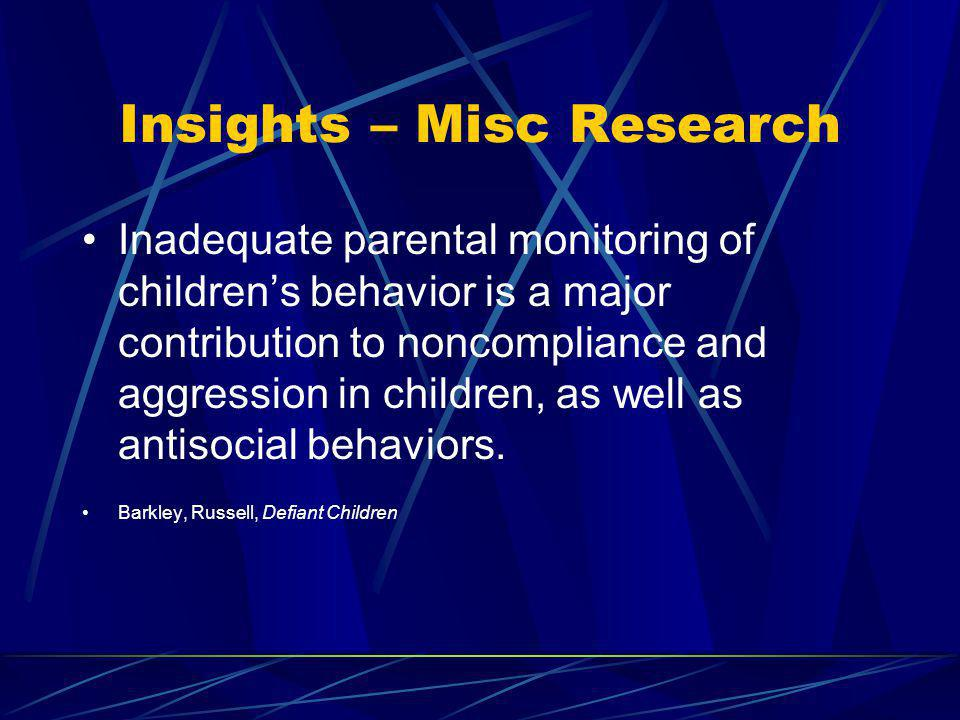 Insights – Misc Research Inadequate parental monitoring of childrens behavior is a major contribution to noncompliance and aggression in children, as