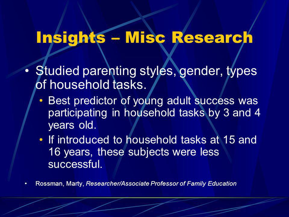 Insights – Misc Research Studied parenting styles, gender, types of household tasks. Best predictor of young adult success was participating in househ