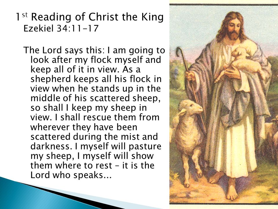 1 st Reading of Christ the King Ezekiel 34:11-17 The Lord says this: I am going to look after my flock myself and keep all of it in view.