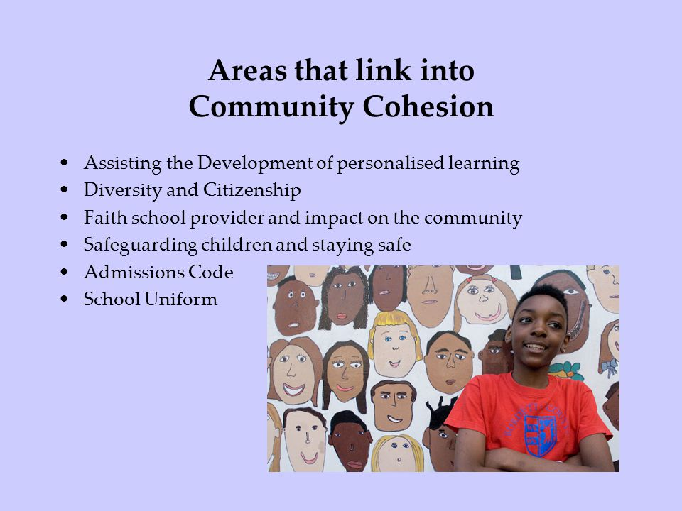 Areas that link into Community Cohesion Assisting the Development of personalised learning Diversity and Citizenship Faith school provider and impact