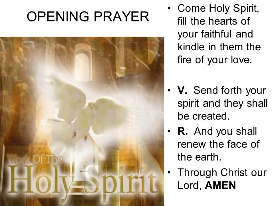 OPENING PRAYER Come Holy Spirit, fill the hearts of your faithful and kindle in them the fire of your love.