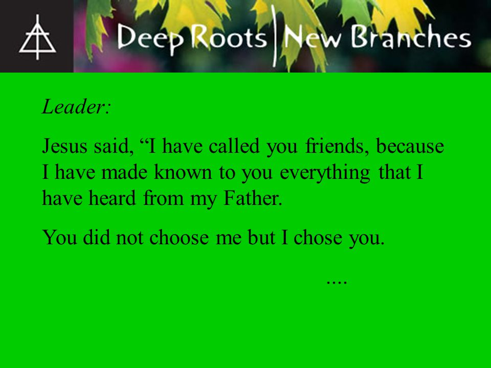 Leader: Jesus said, I have called you friends, because I have made known to you everything that I have heard from my Father. You did not choose me but