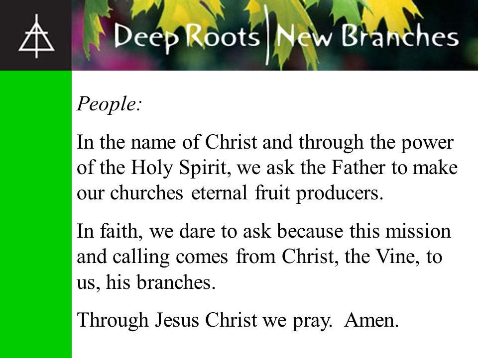 People: In the name of Christ and through the power of the Holy Spirit, we ask the Father to make our churches eternal fruit producers. In faith, we d
