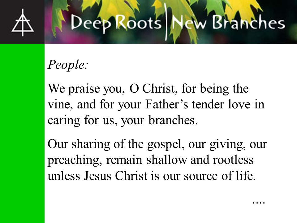 People: Without you, O Christ, living and breathing in us, we can do nothing to bring about your kingdom in this world.