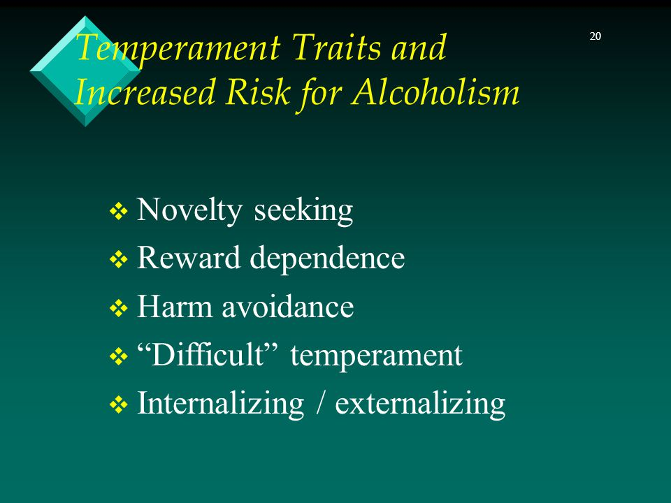 20 Temperament Traits and Increased Risk for Alcoholism Novelty seeking Reward dependence Harm avoidance Difficult temperament Internalizing / externalizing
