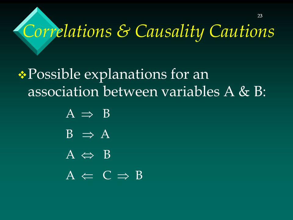 23 Correlations & Causality Cautions Possible explanations for an association between variables A & B: A B B A A B A C B