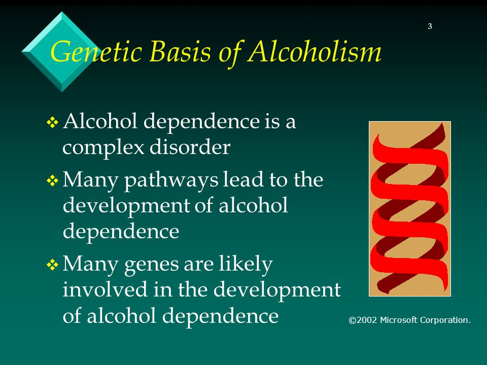 3 Genetic Basis of Alcoholism Alcohol dependence is a complex disorder Many pathways lead to the development of alcohol dependence Many genes are likely involved in the development of alcohol dependence ©2002 Microsoft Corporation.
