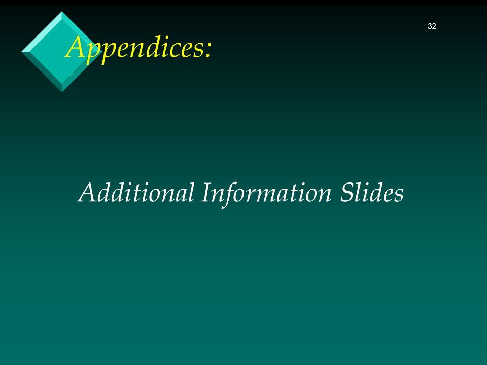 32 Additional Information Slides Appendices:
