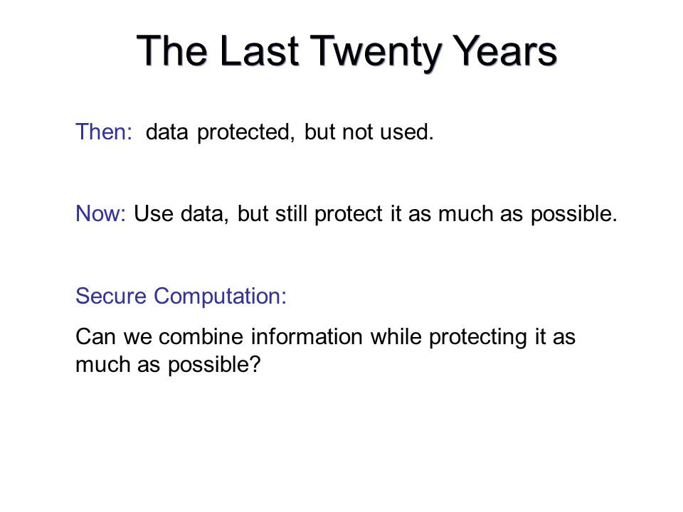 Then: data protected, but not used. Now: Use data, but still protect it as much as possible.