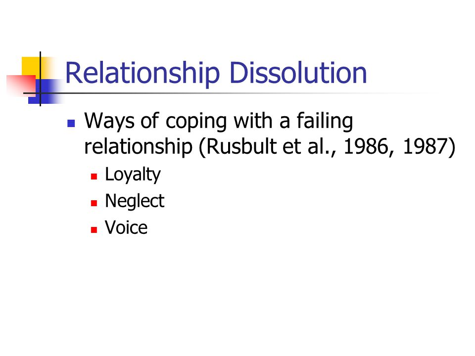 Relationship Dissolution Ways of coping with a failing relationship (Rusbult et al., 1986, 1987) Loyalty Neglect Voice