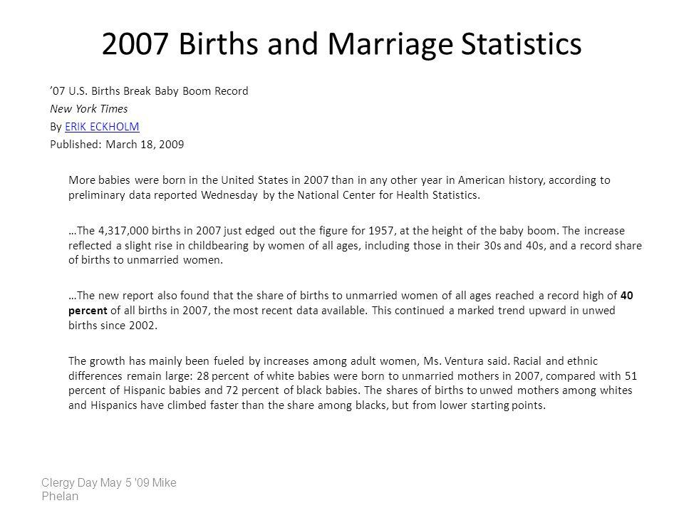 2007 Births and Marriage Statistics 07 U.S. Births Break Baby Boom Record New York Times By ERIK ECKHOLMERIK ECKHOLM Published: March 18, 2009 More ba