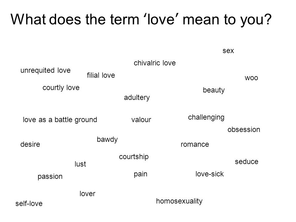 courtly love chivalric love bawdy adultery romance love as a battle ground What does the term love mean to you? beauty passion pain challenging love-s