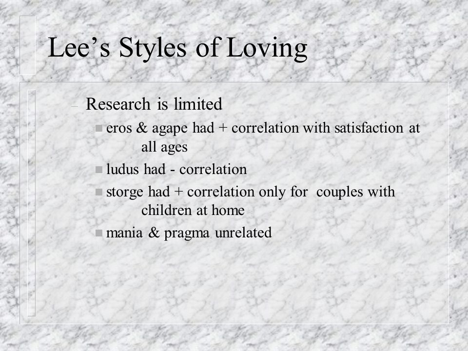 Lees Styles of Loving – Romantic (eros): physical beauty, tactile pleasure – Game playing (ludus): fun, casual, conquests – Possessive (mania): obsessive, jealous, roller- coaster Ups & Downs – Companionate (storge): slow to develop, enduring, peaceful & quiet – Altruistic (agape): selfless, caring, compassionate, no expectation of reciprocation – Pragmatic (pragma): rational, practical, shared interests, mutual satisfaction