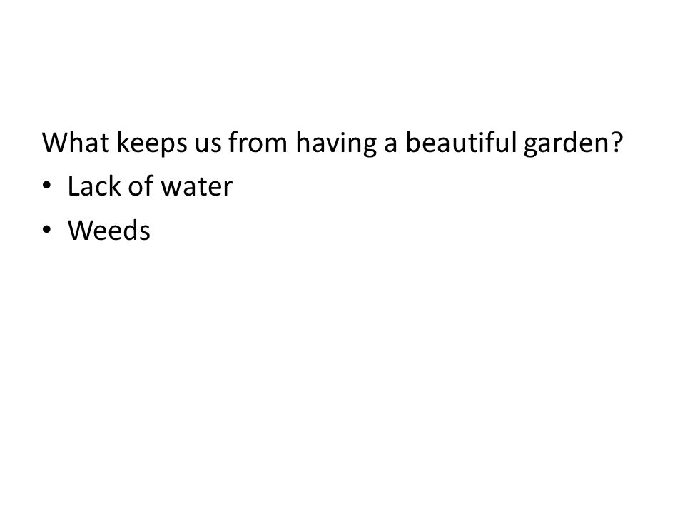 What keeps us from having a beautiful garden? Lack of water Weeds