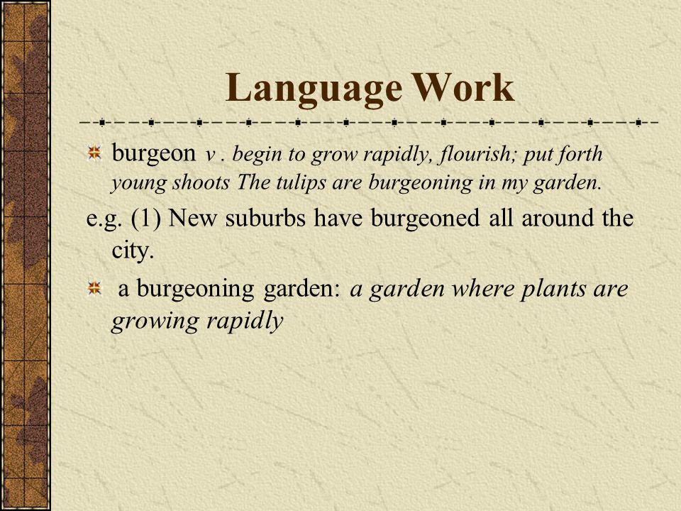 Language Work burgeon ν.