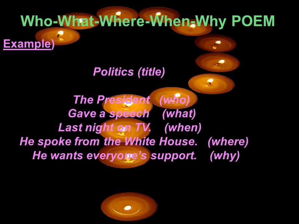 Who-What-Where-When-Why POEM Example) Politics (title) The President (who) Gave a speech (what) Last night on TV. (when) He spoke from the White House