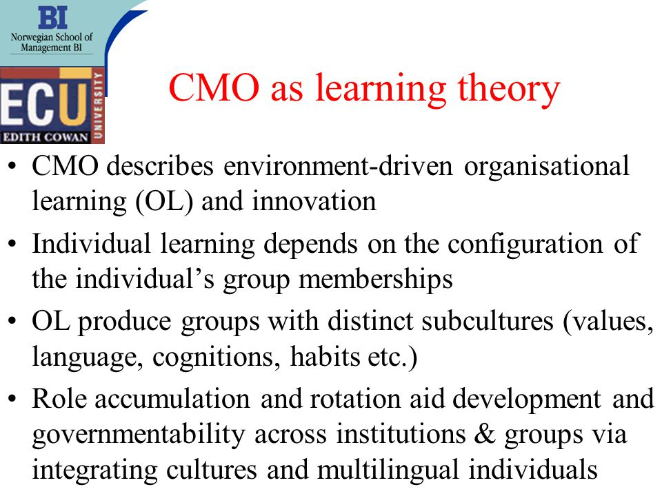 CMO as learning theory CMO describes environment-driven organisational learning (OL) and innovation Individual learning depends on the configuration of the individuals group memberships OL produce groups with distinct subcultures (values, language, cognitions, habits etc.) Role accumulation and rotation aid development and governmentability across institutions & groups via integrating cultures and multilingual individuals