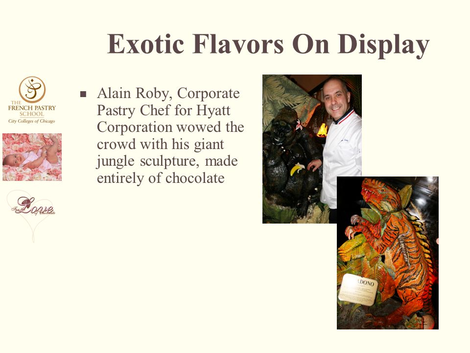 Exotic Flavors On Display Alain Roby, Corporate Pastry Chef for Hyatt Corporation wowed the crowd with his giant jungle sculpture, made entirely of chocolate