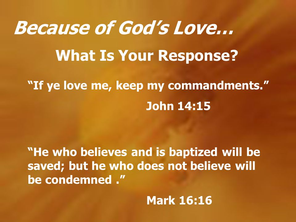Because of Gods Love… What Is Your Response? He who believes and is baptized will be saved; but he who does not believe will be condemned. Mark 16:16