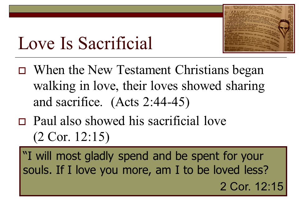 Love Is Sacrificial When the New Testament Christians began walking in love, their loves showed sharing and sacrifice.