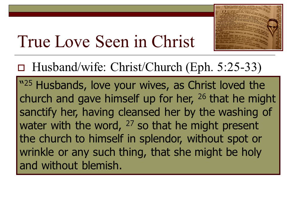 True Love Seen in Christ 25 Husbands, love your wives, as Christ loved the church and gave himself up for her, 26 that he might sanctify her, having cleansed her by the washing of water with the word, 27 so that he might present the church to himself in splendor, without spot or wrinkle or any such thing, that she might be holy and without blemish.