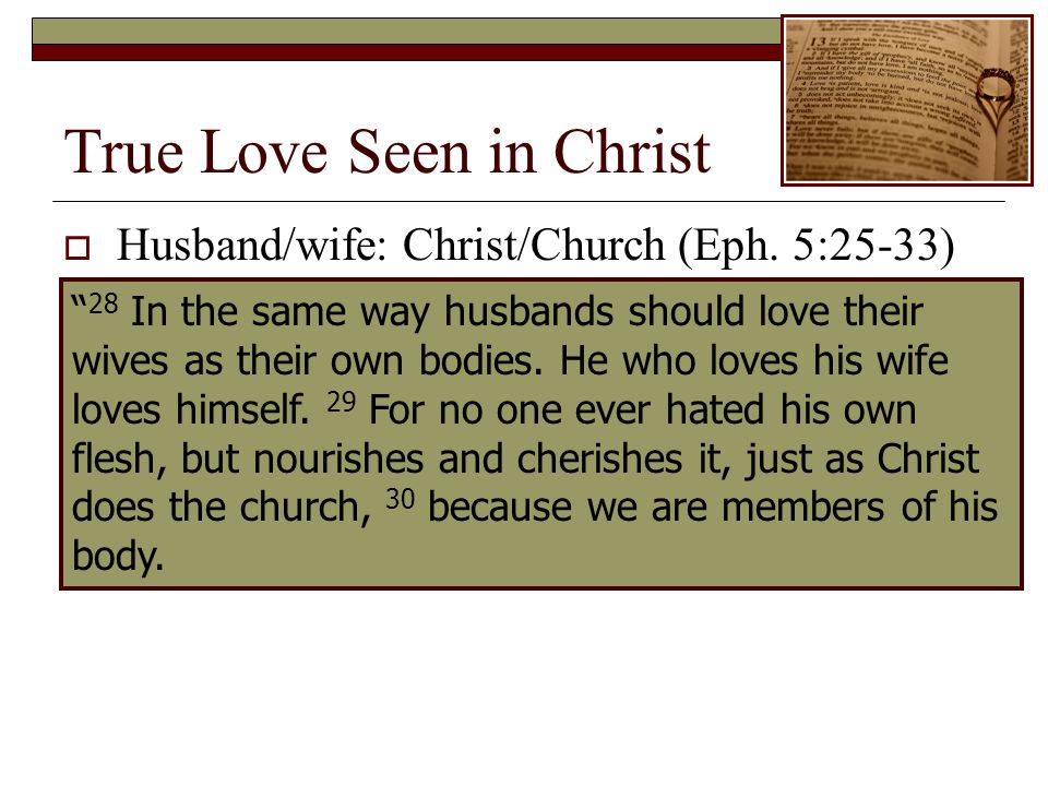 True Love Seen in Christ 28 In the same way husbands should love their wives as their own bodies.