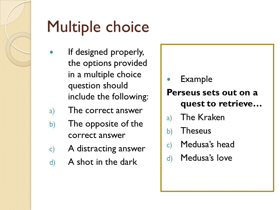 Mythology review With a partner, compare your notes from the mythology unit Compose three multiple choice questions that could appear on the test Test Format A.