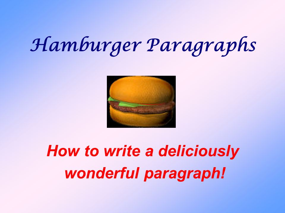 Hamburger Paragraphs How to write a deliciously wonderful paragraph!