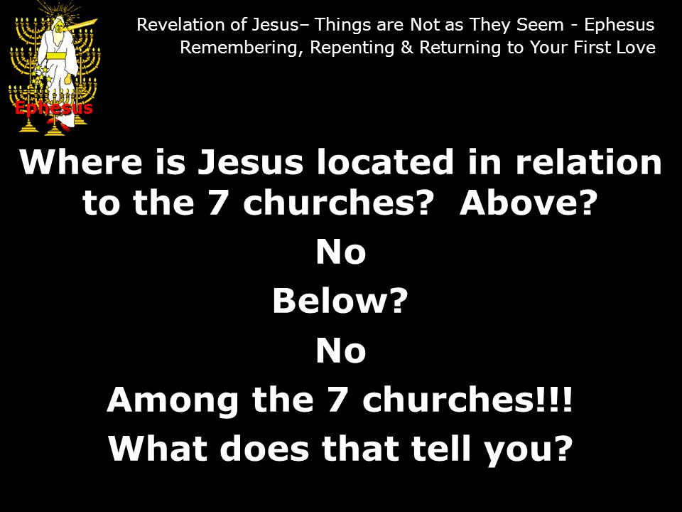Where is Jesus located in relation to the 7 churches.