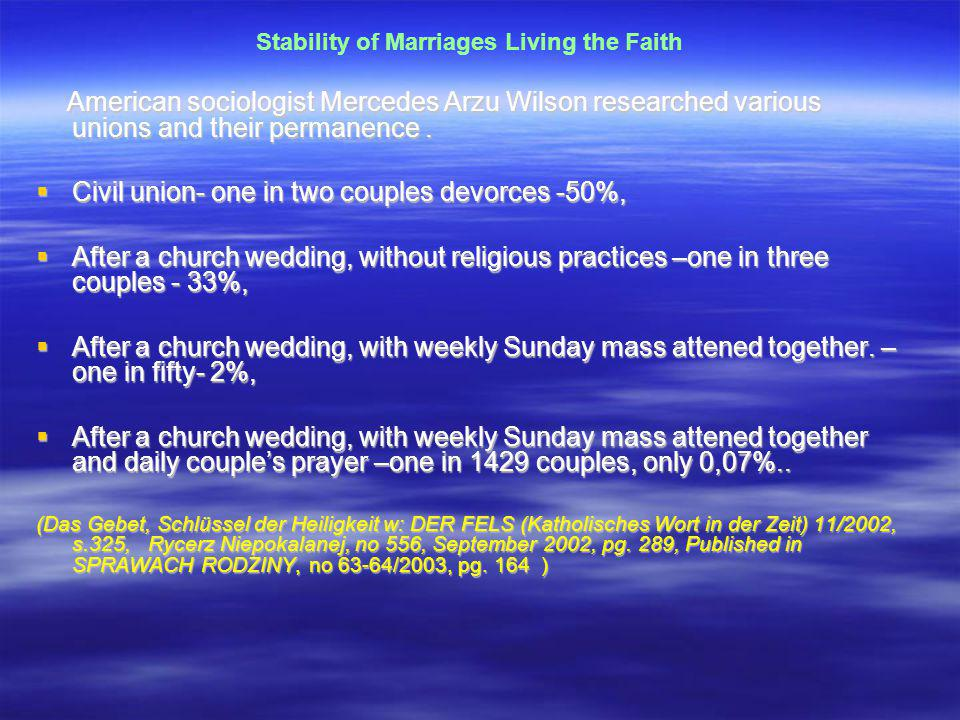 Stability of Marriages Living the Faith American sociologist Mercedes Arzu Wilson researched various unions and their permanence.